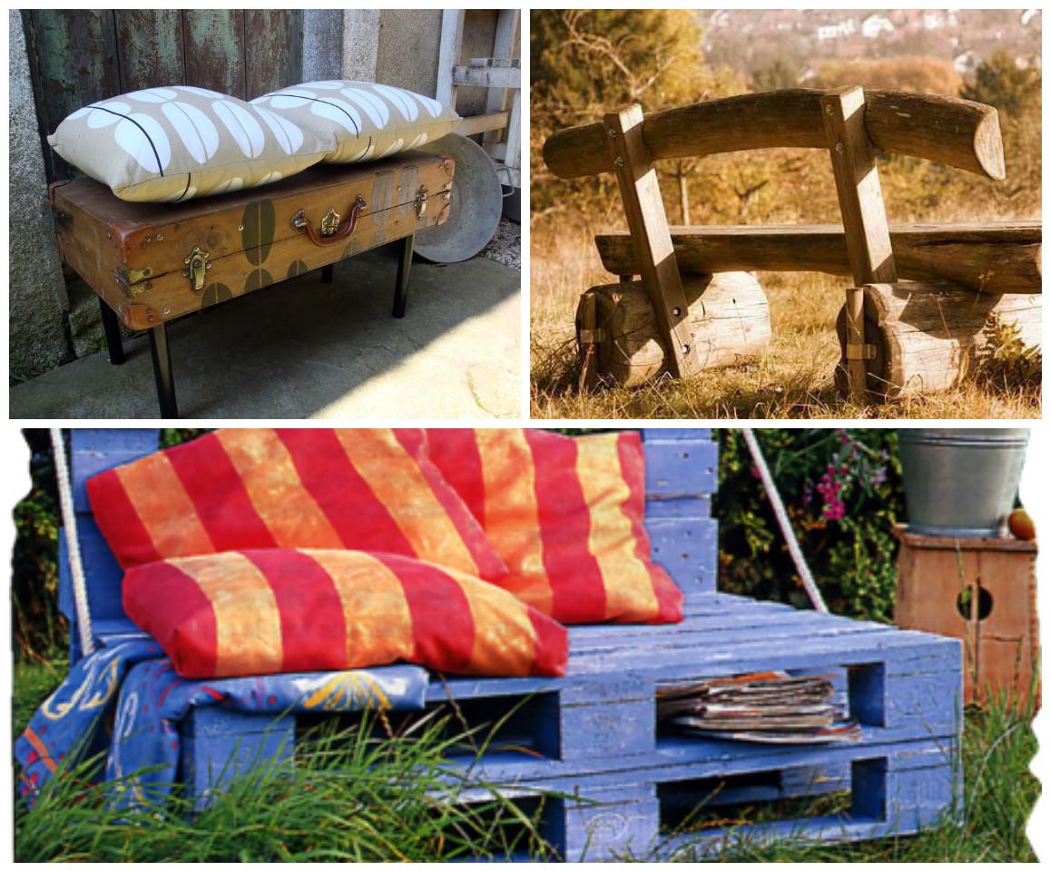 bancs de jardin crées avec des objets récupés