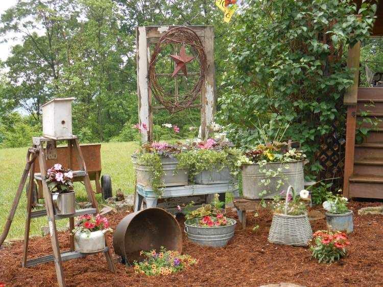 jardin décoration récupération objets