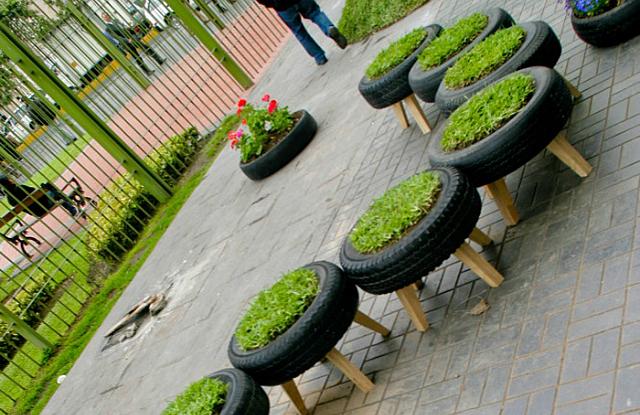 jardin en pneus